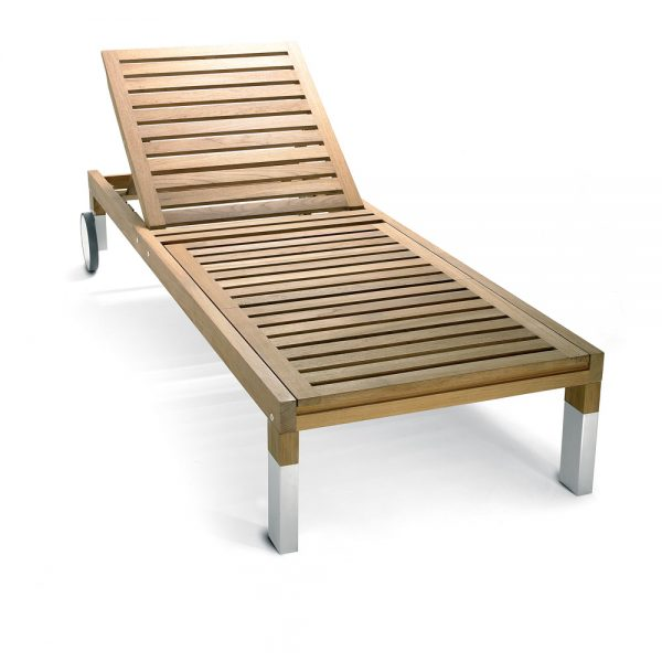 Jane Hamley Wells TAJI_TJ7001_B modern outdoor sunbed teak lounger adjustable headrest with wheels