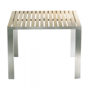 Jane Hamley Wells TAJI_TJ8545_A modern outdoor square dining table teak top stainless steel legs