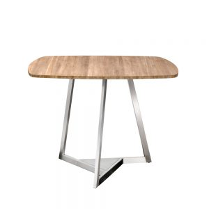 Jane Hamley Wells TRIZ_8101_A modern square dining table teak stainless steel legs