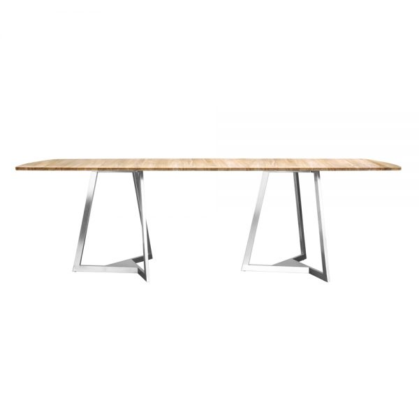 Jane Hamley Wells TRIZ_8102_A modern rectangle dining table teak stainless steel legs
