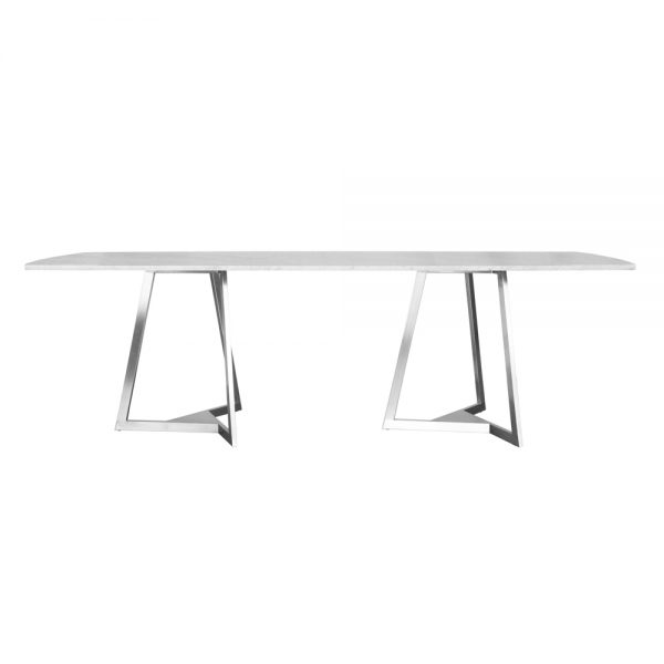 Jane Hamley Wells TRIZ_8202_A luxury modern rectangle dining table stone top stainless steel legs