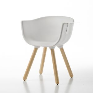 Jane Hamley Wells TULIP_SMALL-TABLE_A guest armchair with table polyurethane seat wood legs
