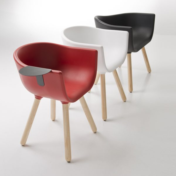 Jane Hamley Wells TULIP_SMALL-TABLE_D guest armchair with table polyurethane seat wood legs