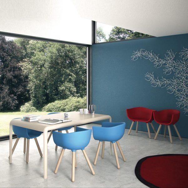 Jane Hamley Wells TULIP_SMALL café restaurant dining armchair polyurethane seat wood legs lifestyle_2