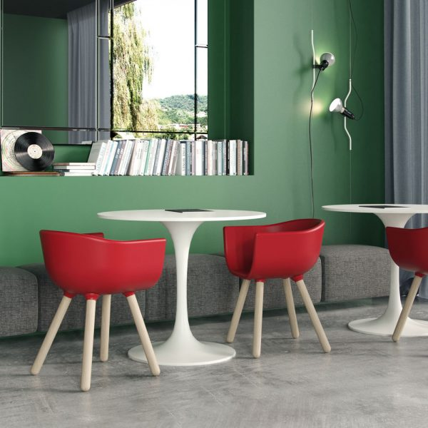 Jane Hamley Wells TULIP_SMALL café restaurant guest dining armchair polyurethane seat wood legs lifestyle_1