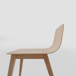 Jane Hamley Wells TWONE_10-201_A modern restaurant dining stool bent wood seat and back wood legs
