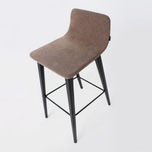 Jane Hamley Wells TWONE_10-204_A upholstered modern restaurant high bar stool with backrest wood legs with metal footrest.jpg-204_A