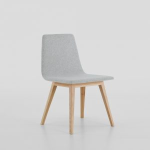 Jane Hamley Wells TWONE_2-205_A modern restaurant dining chair upholstered seat and back wood legs