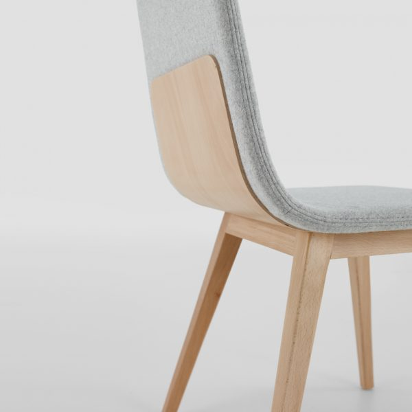 Jane Hamley Wells TWONE_2-205_B modern restaurant dining chair upholstered seat and back wood legs