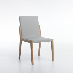 Jane Hamley Wells VIK_2-207_A high back restaurant dining guest side chair upholstered seat and back on oak wood frame