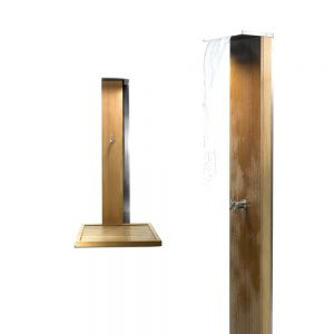 Jane Hamley Wells WATERFALL_WS4998_A freestanding modern outdoor shower hot and cold taps teak stainless steel
