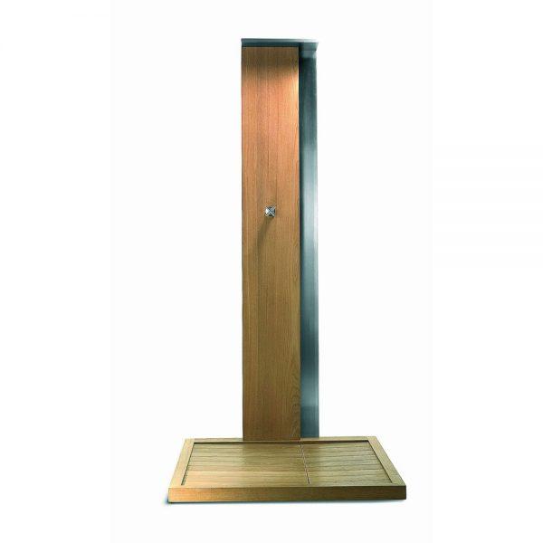 Jane Hamley Wells WATERFALL_WS4999 freestanding modern outdoor shower cold tap teak stainless steel